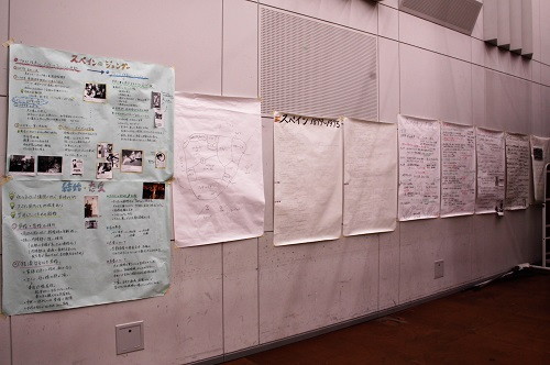 大きな模造紙にまとめられた戯曲にまつわる情報