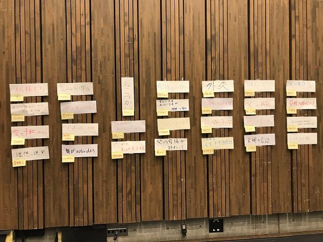 参加者が出したエピソードの題名を壁に貼りだす