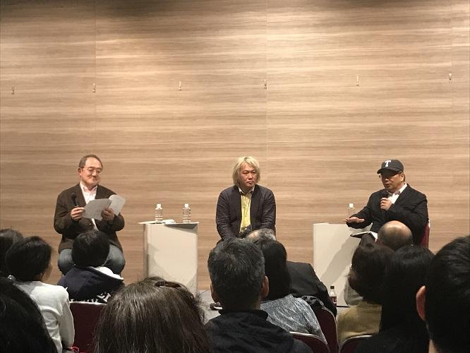 写真左から:岡田憲治さん、津田大介さん、小田嶋隆さん